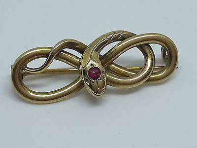 Stunning Small French Art Nouveau 18ct Gold Filled Snake Serpent Brooch By Fix