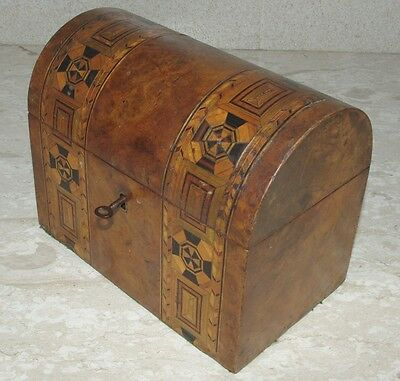 TEA CADDY Dome Lidded Marquetry 19C. ~ nice, with Key ~ FREEPOST to UK