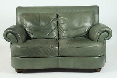 MODERN MOSS GREEN LEATHER UPHOLSTERED SOFA, 21st Century. Unmarked. -... Lot 489