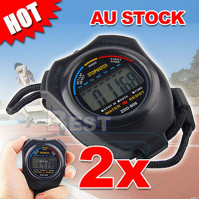 2x Digital LCD Stopwatch Counter Timer Stop Watch Handheld Chronograph Sports