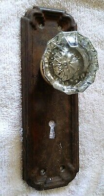 old vintage rusty door back plate with glass knob fasten to it.