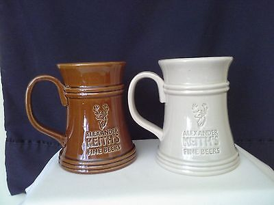 Lot of 2 Alexander Keith Beer Mug Stein Cream and Brown