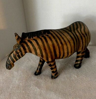 Baby Giraffe And A Zebra Wood Carved Made In India