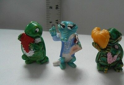 Lot Of 3 RARE VINTAGE 1981,1992 Kinder Ferrero Figures TURTLES, CROCODILE - VGUC