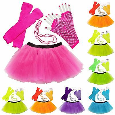 Womens Deluxe 80's Costume & Accessories - Tutu Leg Warmers Fishnet Gloves Beads