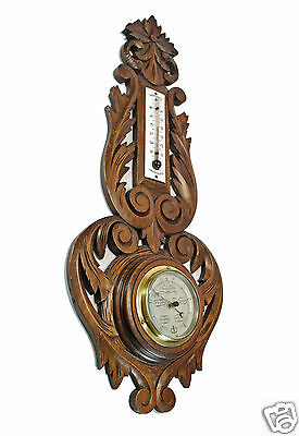 Antique Carved Barometer / Thermometer, French.