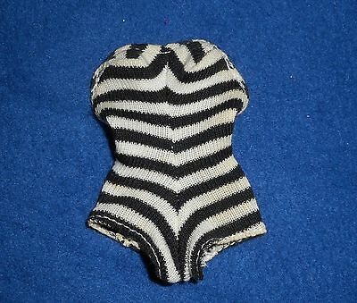 Vintage Barbie Black And White Striped Bathing Suit for 1960's Reproduction Doll