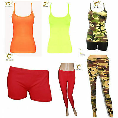 New Ladies Girls Neon Hot Pant Shorts Vest Top Legging Dance Wear All in 1