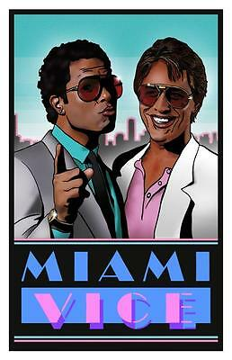 Miami Vice ** POSTER ** - Don Johnson Philip Michael Thomas ** POP ART **
