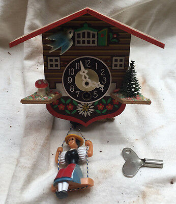 "Black Forest ""Girl on Swing"" Miniature Cuckoo Clock"