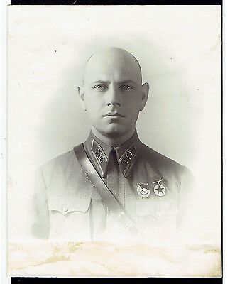 Vintage photo USSR WW2 1941y Russian Officer Lieutenant colonel  (2031)