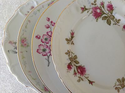 Set 4 Vintage Mismatched China Dinner Plates Pink Florals 10""