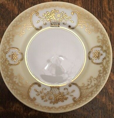 Noritake Cream White and Gold Decorative Small Plate/ Saucer 5""