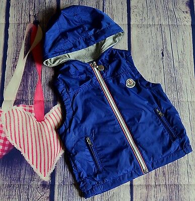 Moncler Boys Designer Blue Jersey Lined Jacket Gilet 3 Years Small Fitting