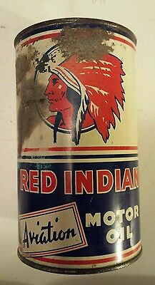 "Rare Vintage ""red Indian Aviation Motor Oil"" Canadian 1 Quart Empty Oil Can"
