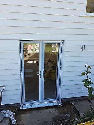 White aluminium double glazed french doors for White double french doors