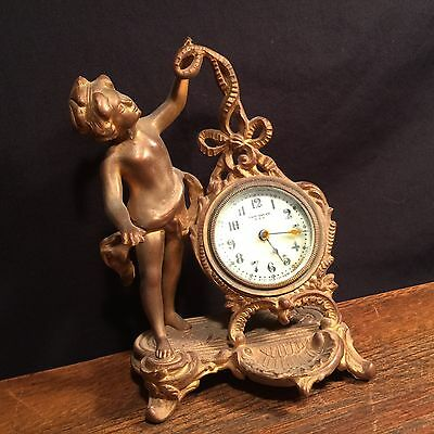 Vintage Clock Cherub New Haven figural cast metal mantle shelf PRIORITY MAIL