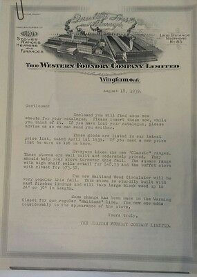 "Rare Canadian (Wingham, Ont) ""western Foundry Co. Ltd."" Letter & Maitland Stoves"