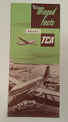 "Rare Original 1950 ""winged Facts About Tca"" 6 Page Fold-Out Brochure - Nice- Nos"