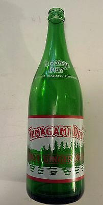 "Rare Canadian (North Bay, Ont) ""temagami Dry"" 30 Oz Green Bottle-Red & White"