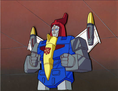 Transformer G1 Dinobot Swoop animation cel w/ painted background