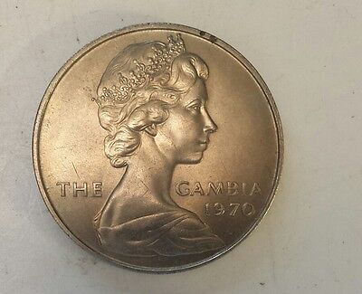 """""""1970 Gambia 8 Shilling"""" Silver (.925) Coin Au - Ms Condition - Not Prof. Graded"""