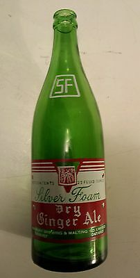 "Rare Canadian (Sudbury)""silver Foam Dry Ginger Ale"" 22 Oz Green Bottle-Red/white"