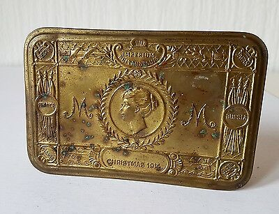 Vintage Antique Brass Christmas 1914 Tobacco Tin Ww1