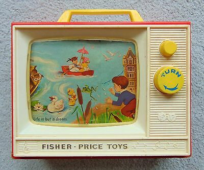 Vintage Fisher Price Giant Screen Music Box TV - Two Tune 1966 London / Row