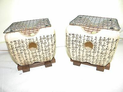 EUC Set of 2x Japanese Tabletop Portable Grill Konro Clay Stove w/Stand & Screen