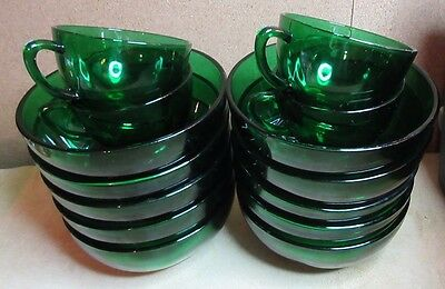 "Vintage RETRO 50's-60's Anchor Hocking FOREST GREEN Deep Bowl(s) 5 1/4"" TEN(10)"