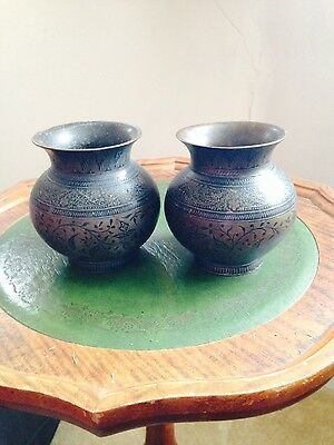 pair of vintage asian metal urns