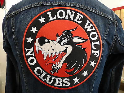 GRAND ECUSSON PATCH THERMOCOLLANT/ LONE WOLF NO CLUBS motard moto biker hog usa