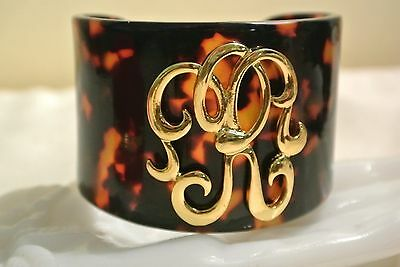 Vintage Lucite Faux Tortoise Shell Cuff Bracelet with Initial or Makers Mark
