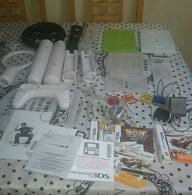 Nintendo Wii DS 3DS Xbox 360 Controller Addons, Chargers. Game Cases 40+ Bundle