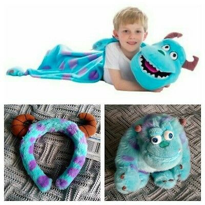 Disney Store Monsters Inc Sulley Soft Toy Cuddleuppet Plush Blanket Puppet Horns