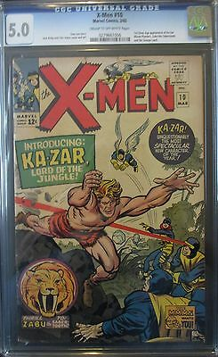 X-MEN #10, CGC 5.0, 1st SA KA-ZAR, ZABU the SABERTOOTH App! STAN LEE Story! 1965