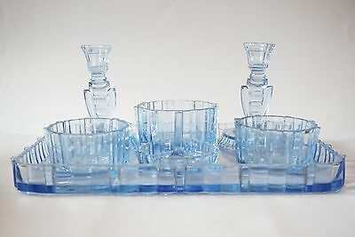 Art Deco Style Electric Blue Glass Dressing Table Set