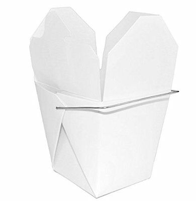 Chinese Take Out Food Boxes, White with Metal Wire Handle, 32oz 50 Pack