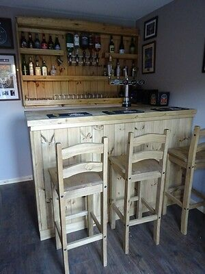 NEW - Handcrafted Solid Pine Home Bar with Wall Mounted Back Bar