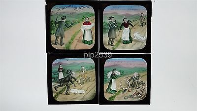 A Slight Mistake - Bicycle Accident - 4 Hand Coloured Magic Lantern Slides