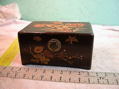 VINTAGE ORIENTAL wooden JEWELRY BOX Footed FLORAL highlights metal hardware