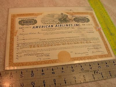 Old Stock certificate American Airlines  $1000 RAM 115673