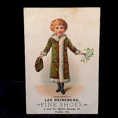 Lee Reinberg Dealers In Fine Shoes Victorian Trade Card 1880 Girl With Mistletoe