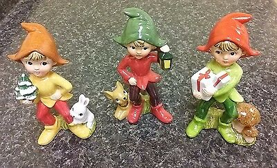 HOMCO ELVES PIXIES forest bunny mushroom fawn figurines SET OF 3 series 5215 Vtg