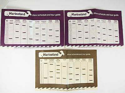 Vintage 70's Marineland of the Pacific Show Schedule and Tour Guide Lot of 3