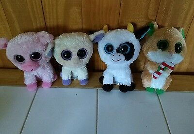 TY Beanie Boo lot Retired Boos - Clover, Candy Cane, Daisy & Corky no hang tags
