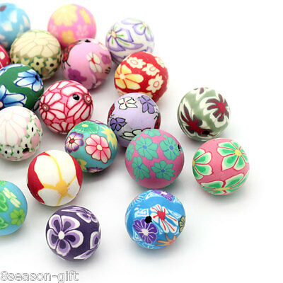 Wholesale Lots Polymer Clay Spacer Beads Pattern Printed Round Mixed