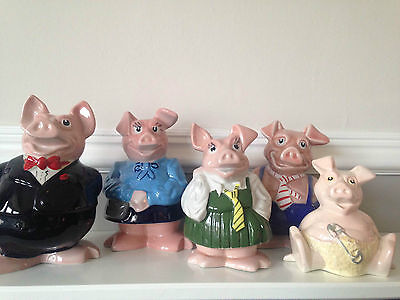 Natwest pigs - set of five pigs/moneyboxes (Wade/Unknown/Sunshine Ceramics)