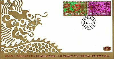 """Hong Kong, 1976 , """"year Of Dragon"""" Stamp Set On  Official Fdc Fresh"""